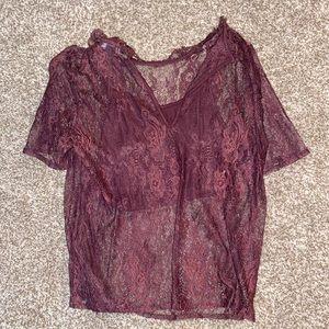 Sheer shirt with crop top